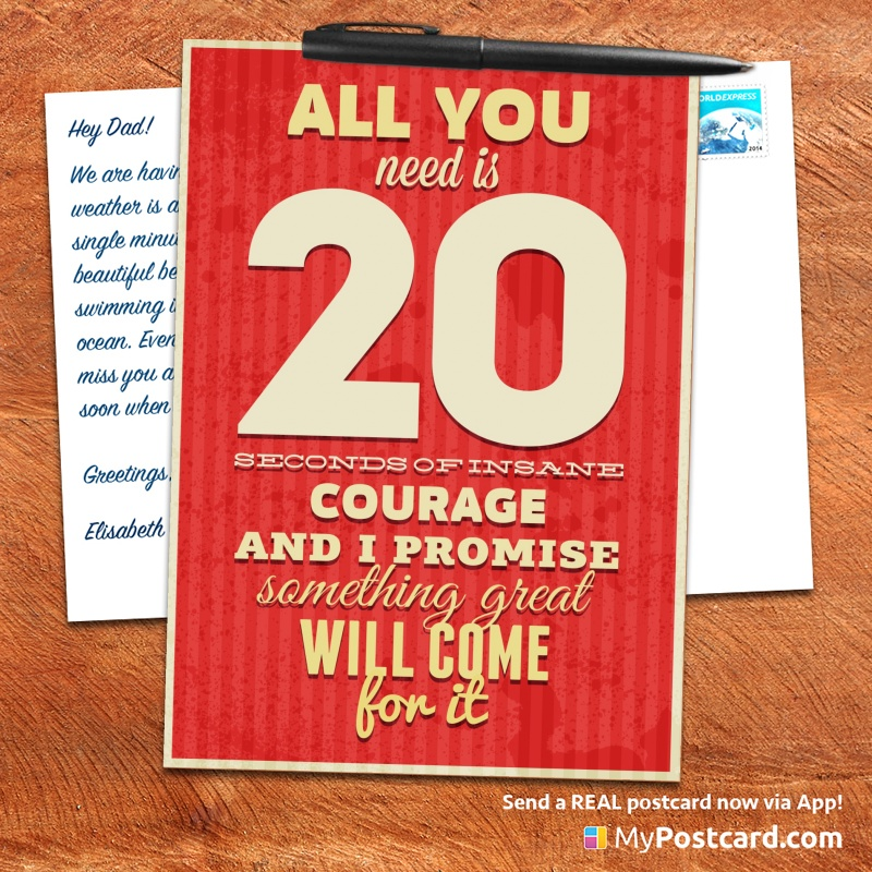 mypostcard_greeting_card_inspirational_quote_vintage_all you need is 20