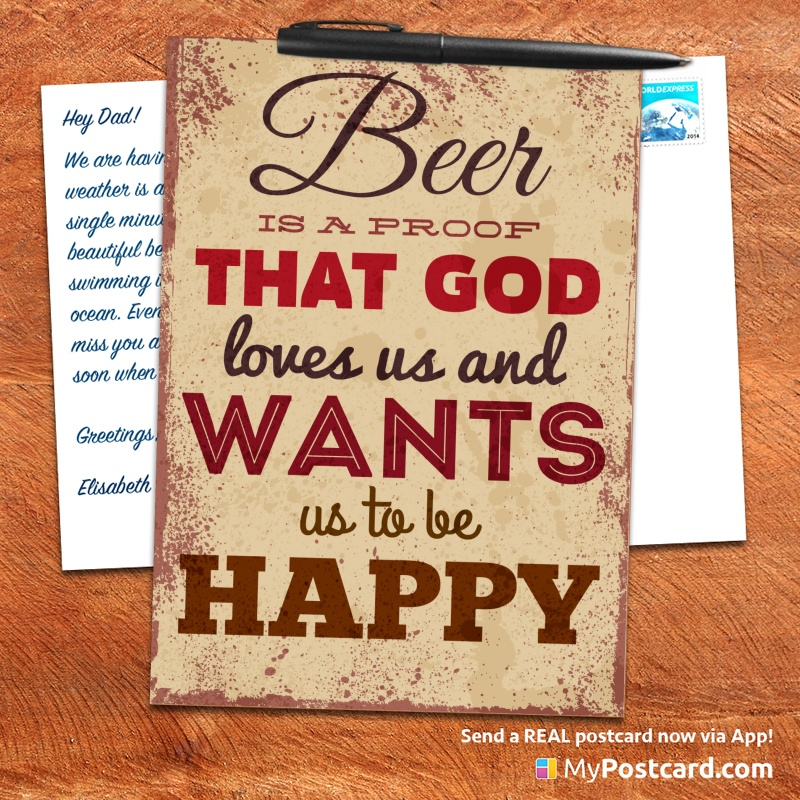 mypostcard_greeting_card_inspirational_quote_vintage_beer is a proof that god loves us and wants us to be happy