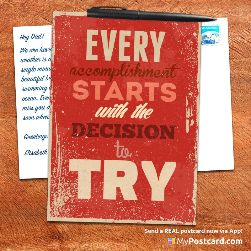 mypostcard_greeting_card_inspirational_quote_vintage_every accomplishment starts with the decision to try