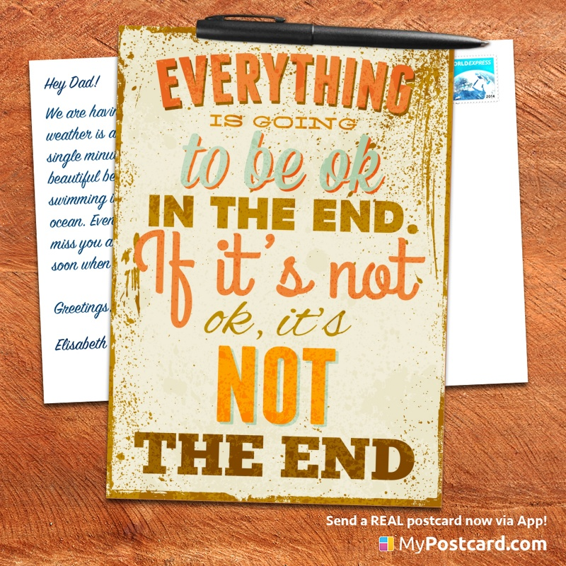 Mypostcard_greeting_card_inspirational_quote_vintage_everything Is Going To  Be Okay In The End. Inspirational Quote ...