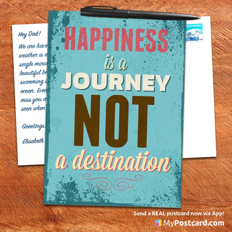 mypostcard_greeting_card_inspirational_quote_vintage_happiness is a journey not a destination