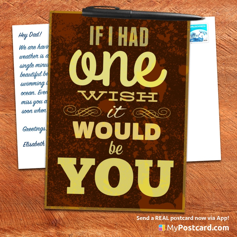 mypostcard_greeting_card_inspirational_quote_vintage_if i had one whish it would be you