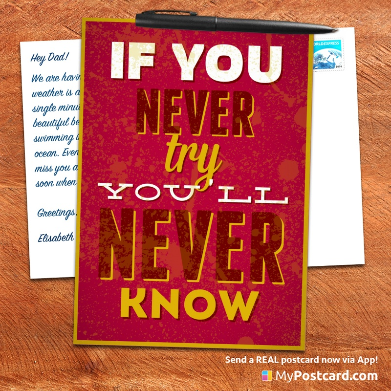 mypostcard_greeting_card_inspirational_quote_vintage_if you never try you will never know