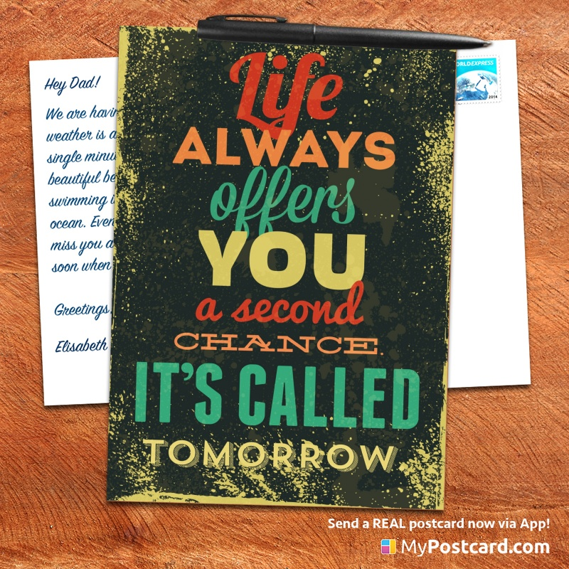 mypostcard_greeting_card_inspirational_quote_vintage_life always offers you a second chance it is called tomorrow