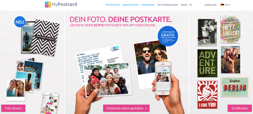 MyPostcard Webseite Header Bilder