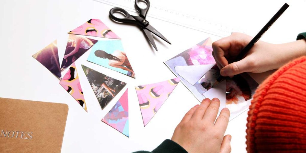 Cutting the photos and postcards