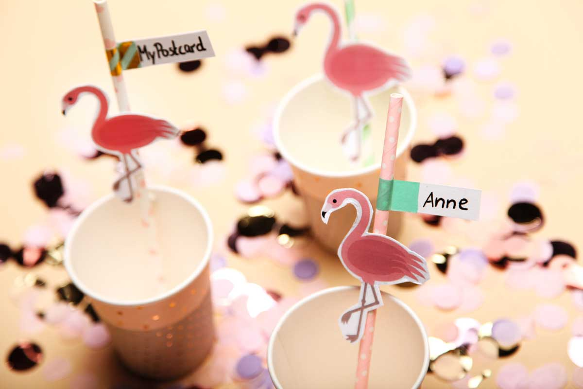 flamingos als cocktail deko tropical nights diy 2 mypostcard blog. Black Bedroom Furniture Sets. Home Design Ideas