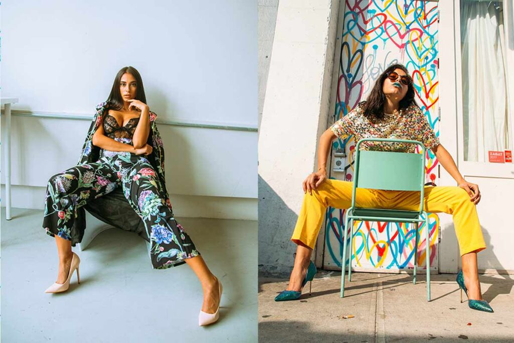 Two women show how to pose as model while sitting down
