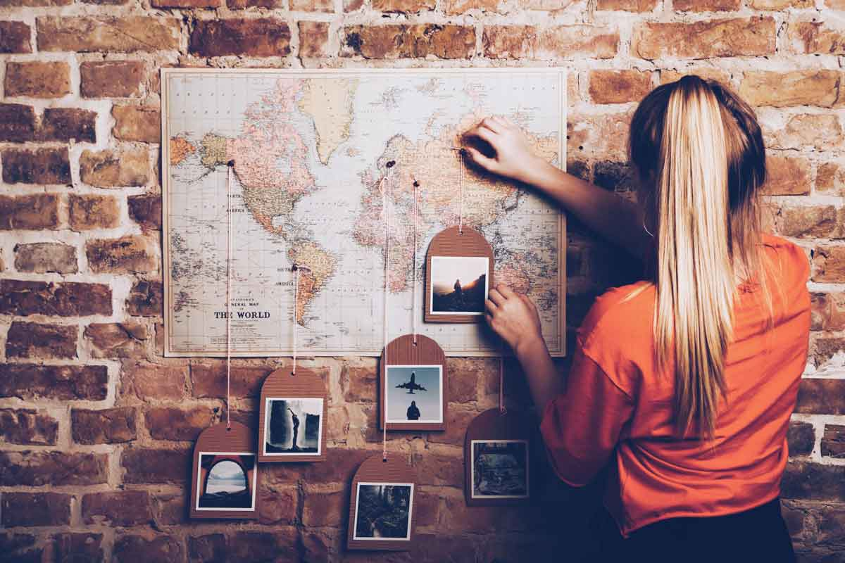 Your DIY World Travel Map With Pins MyPostcard Blog - Wall map travel pins