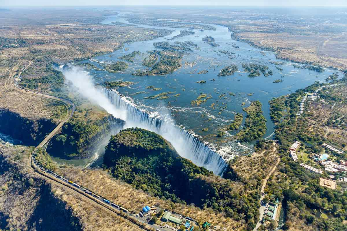 The view over the Victoria Falls as one of the best Skydiving Places