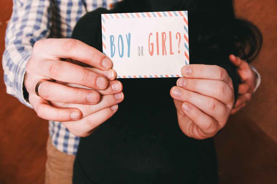Party gender reveal invitations for new baby