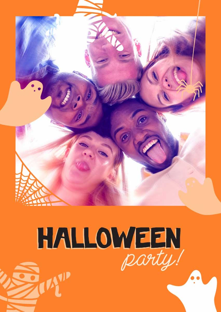 Halloween sayings like 'party ghosts and Halloween party'
