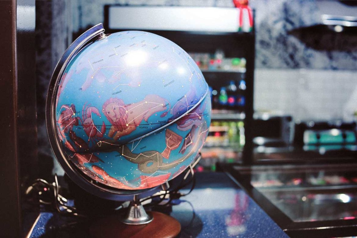 Globe with Zodiac Signs