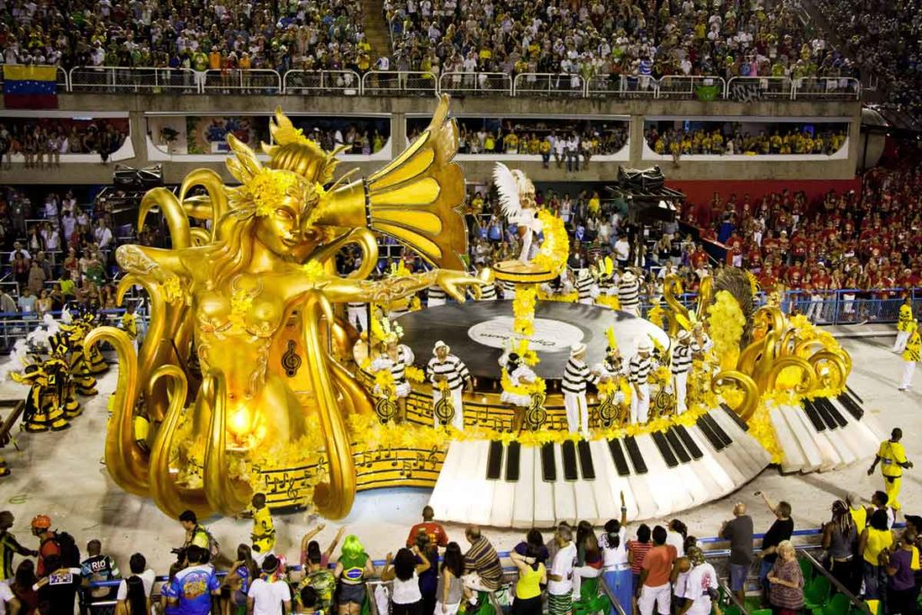 The festive procession at the Carnival in Brazil