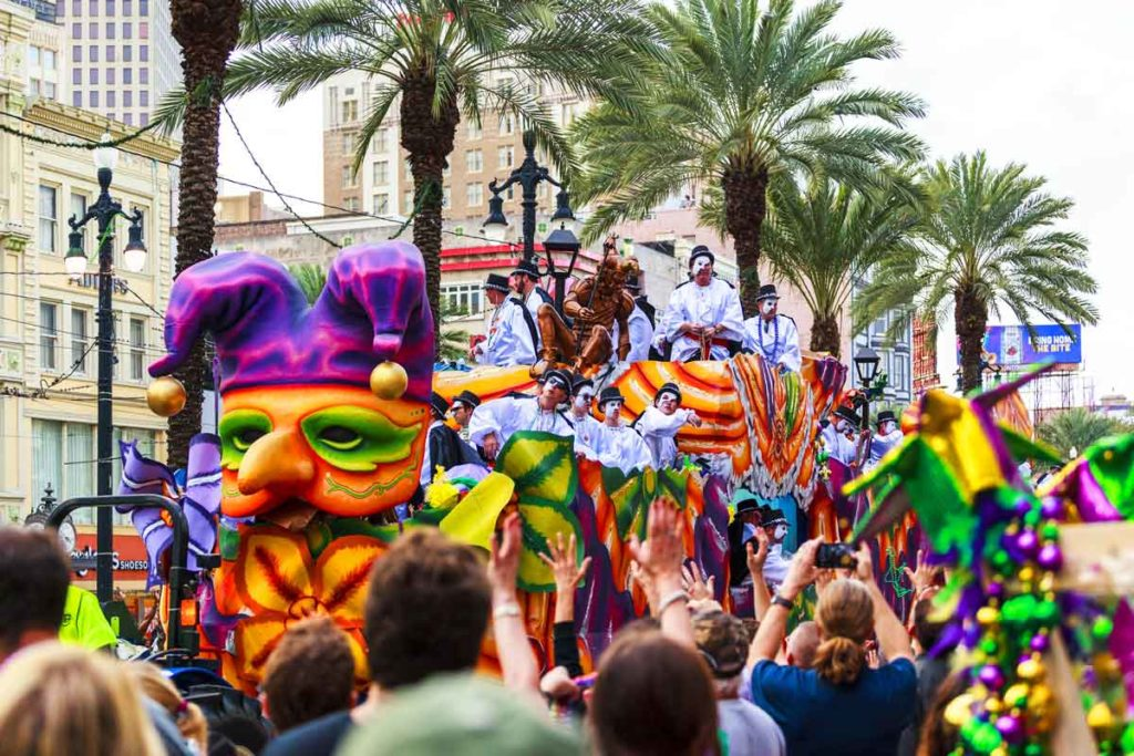 Festive parade through New Orleans' streets