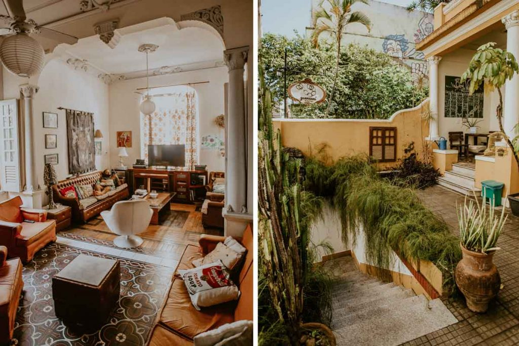 outdoor and indoor picture of a cosy hostel