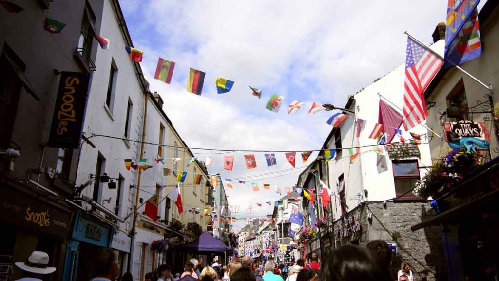 A shopping street in Galway, colourful decorated