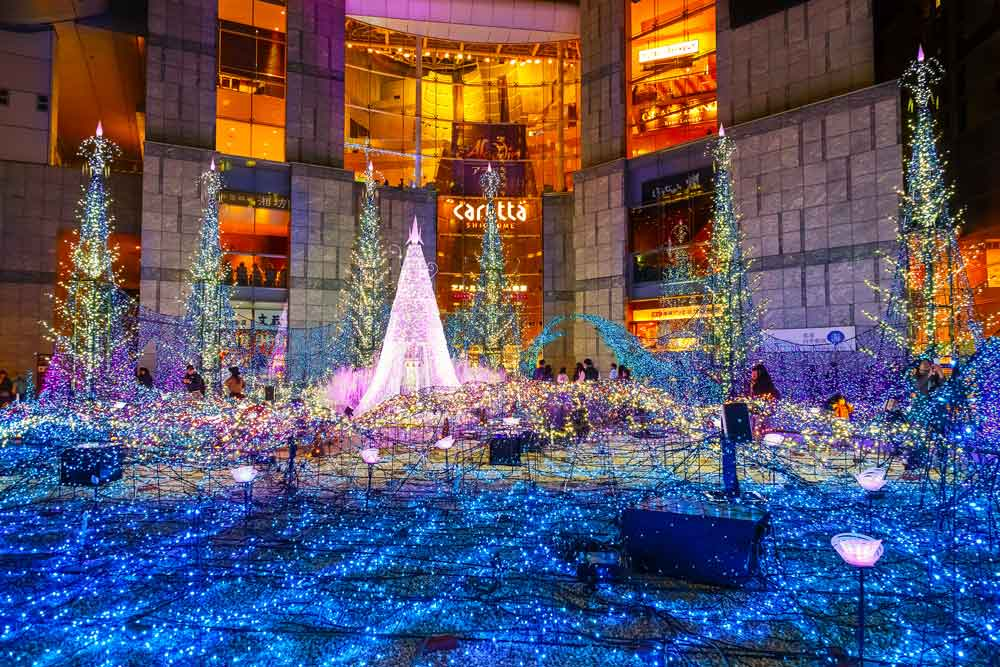 Tokyo during the Christmas season with thousands of LED lights