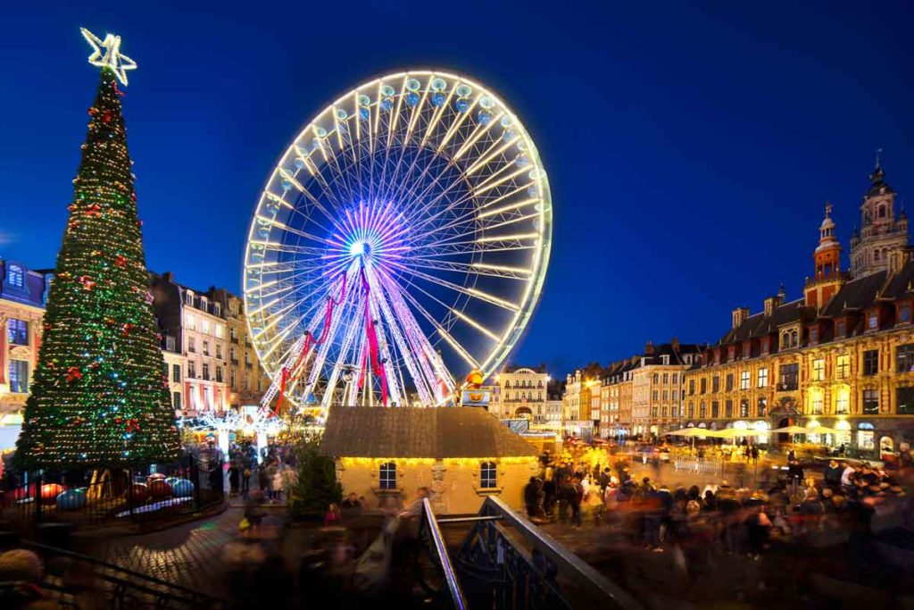 Christmas market in Lille with a big wheel