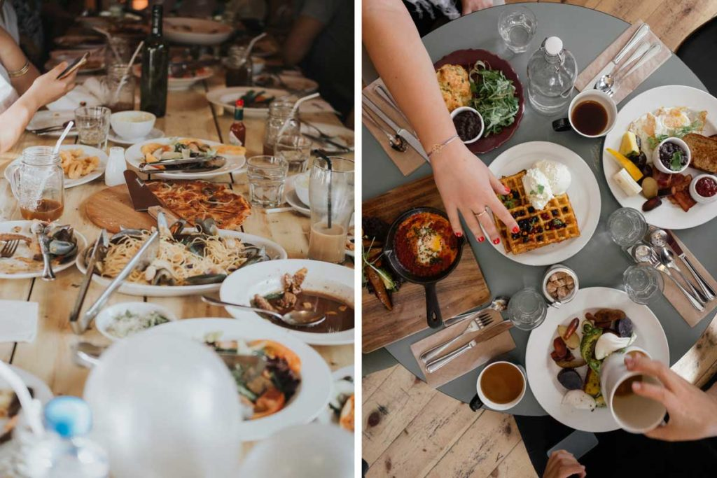 Best cities for foodies worldwide, plates filled with delicious food
