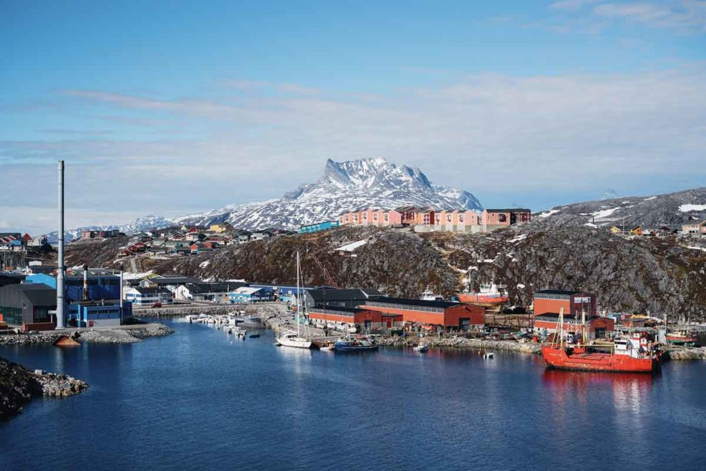 The harbour of Greenlands capital city, Nuuk, with boats