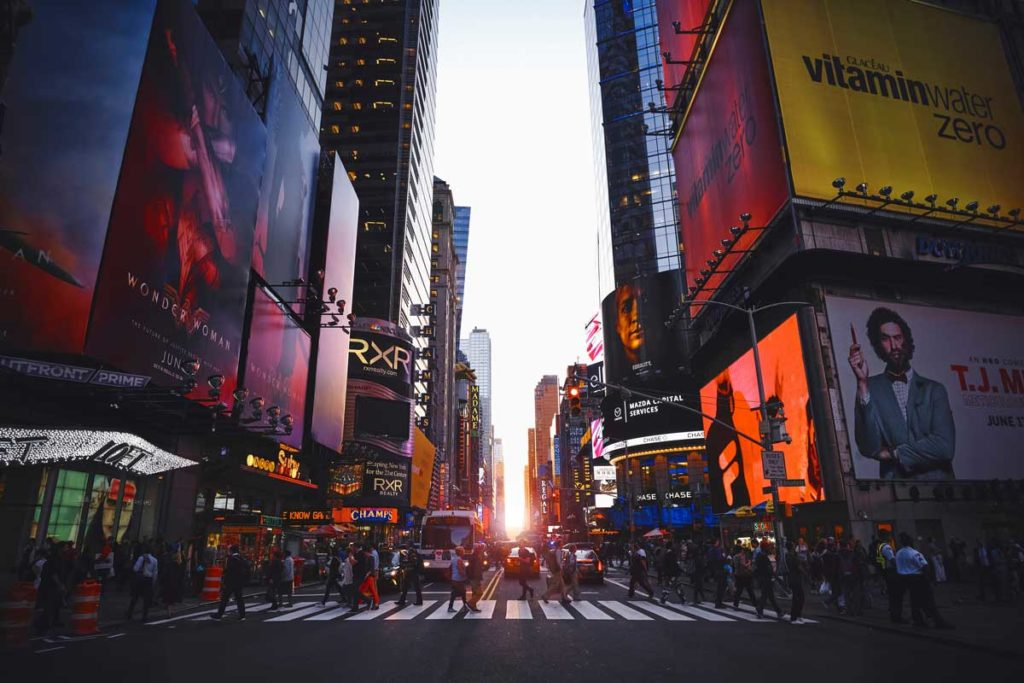Times Square in New York during sunset with ads