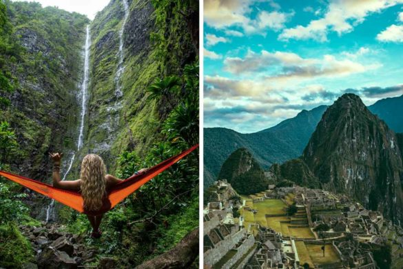 Breathtaking view of the waterfall and Machu Picchu
