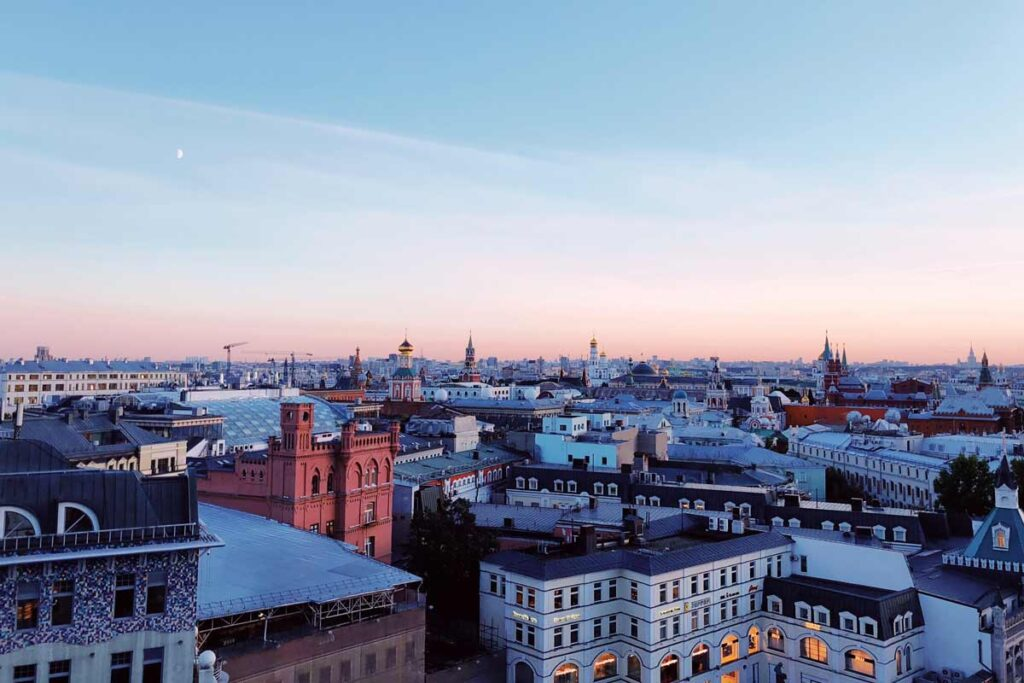 A wintery view of rooftops in Russia, where one of our top books to read is set