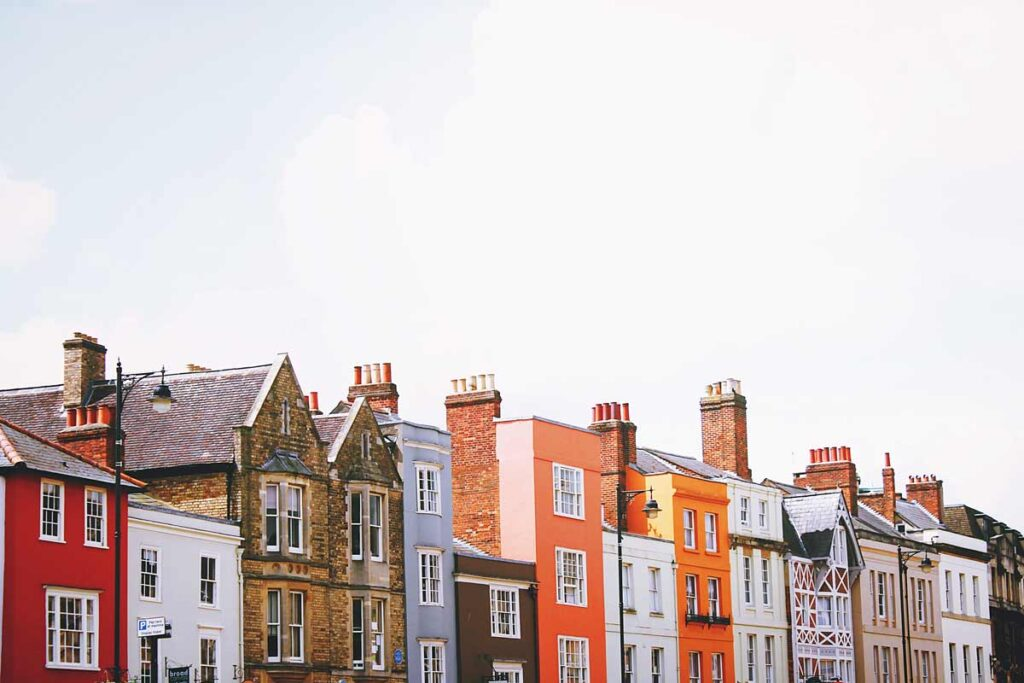 A row of colorful houses in Oxford, Britain