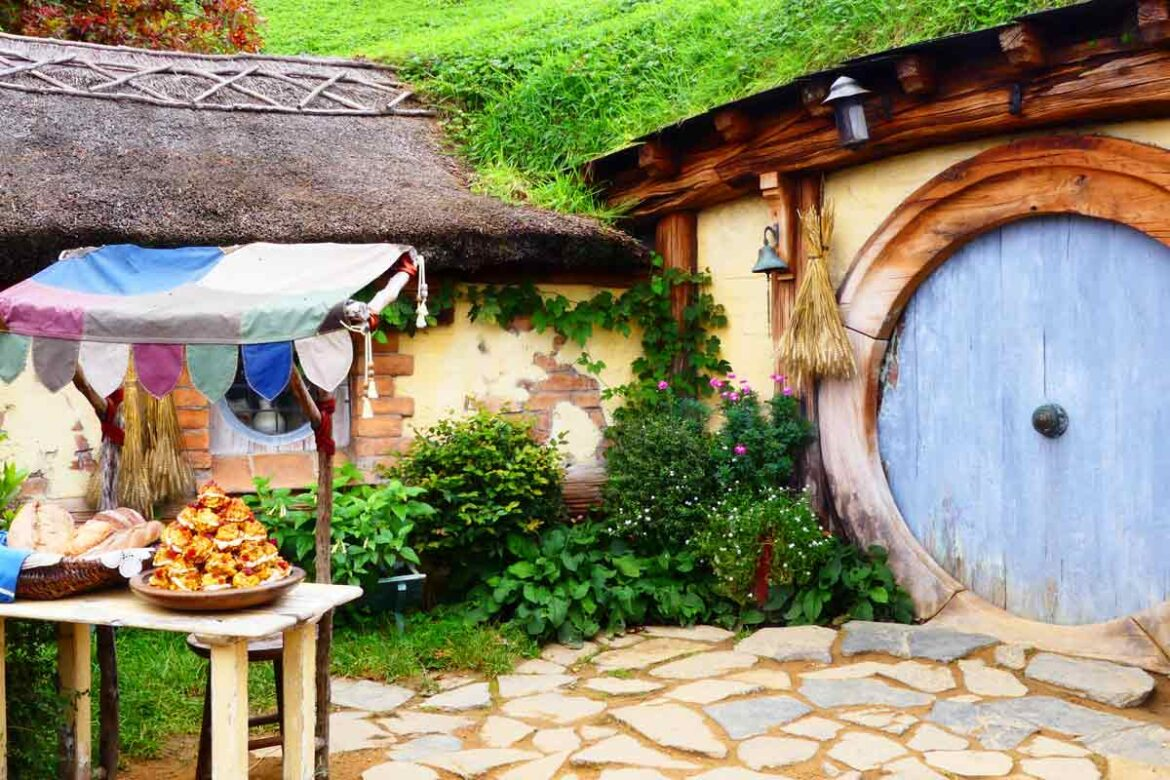Food in front of the set off world famous travel movie, The Hobbit