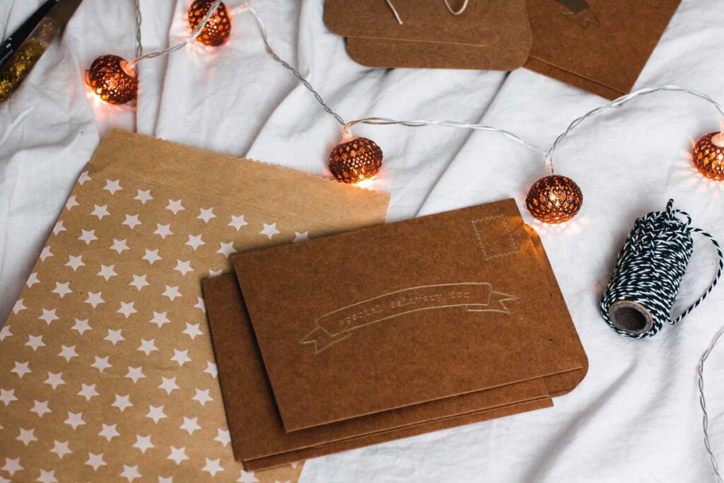 Classy brown gift cards like on top of an envelope