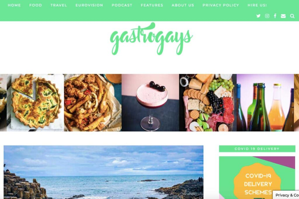 Homepage full of food on the Gastro Gays Blog