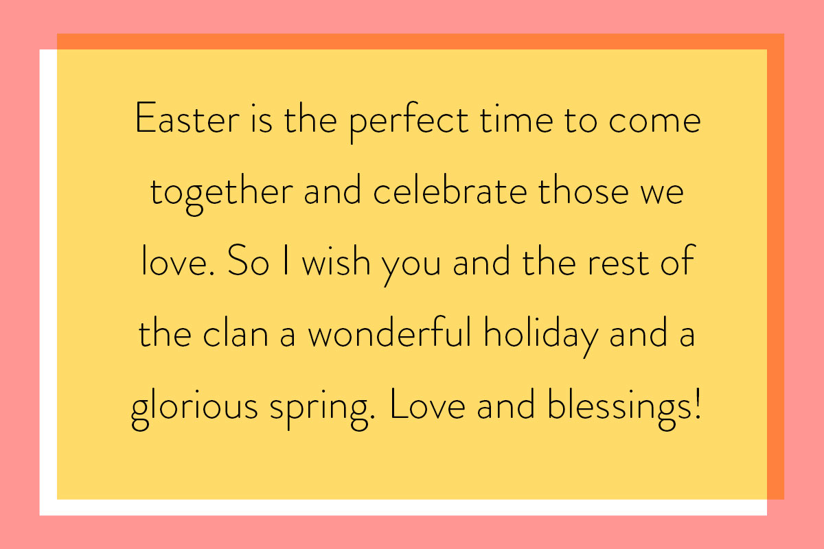Example of writing an Easter card for friends