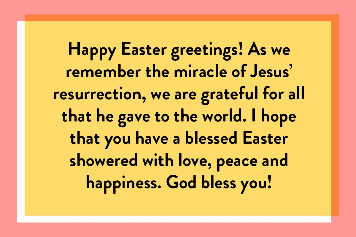 A Happy Easter greeting quote for a religious message