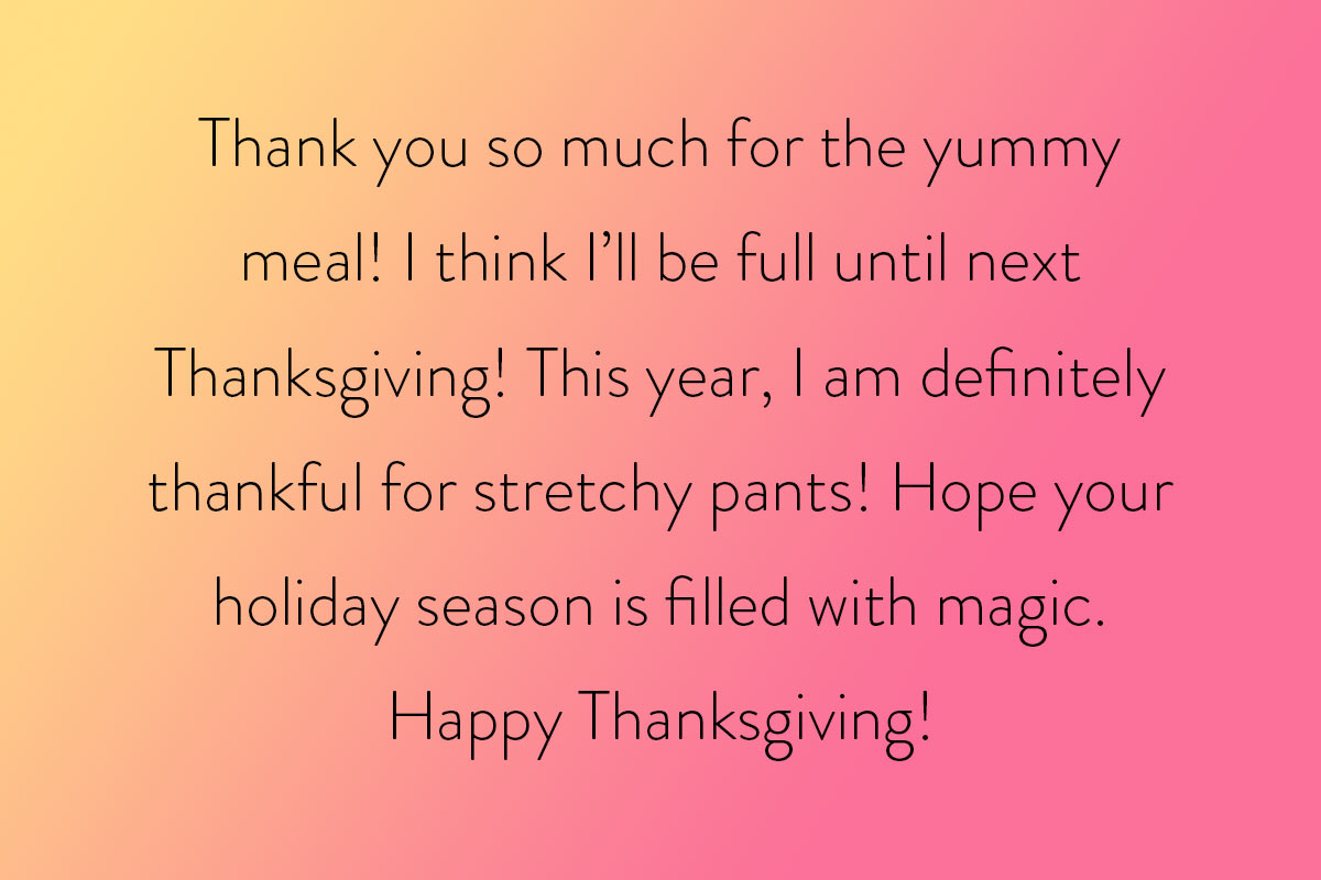 A message for the cook to say Happy Thanksgiving - and thank you!