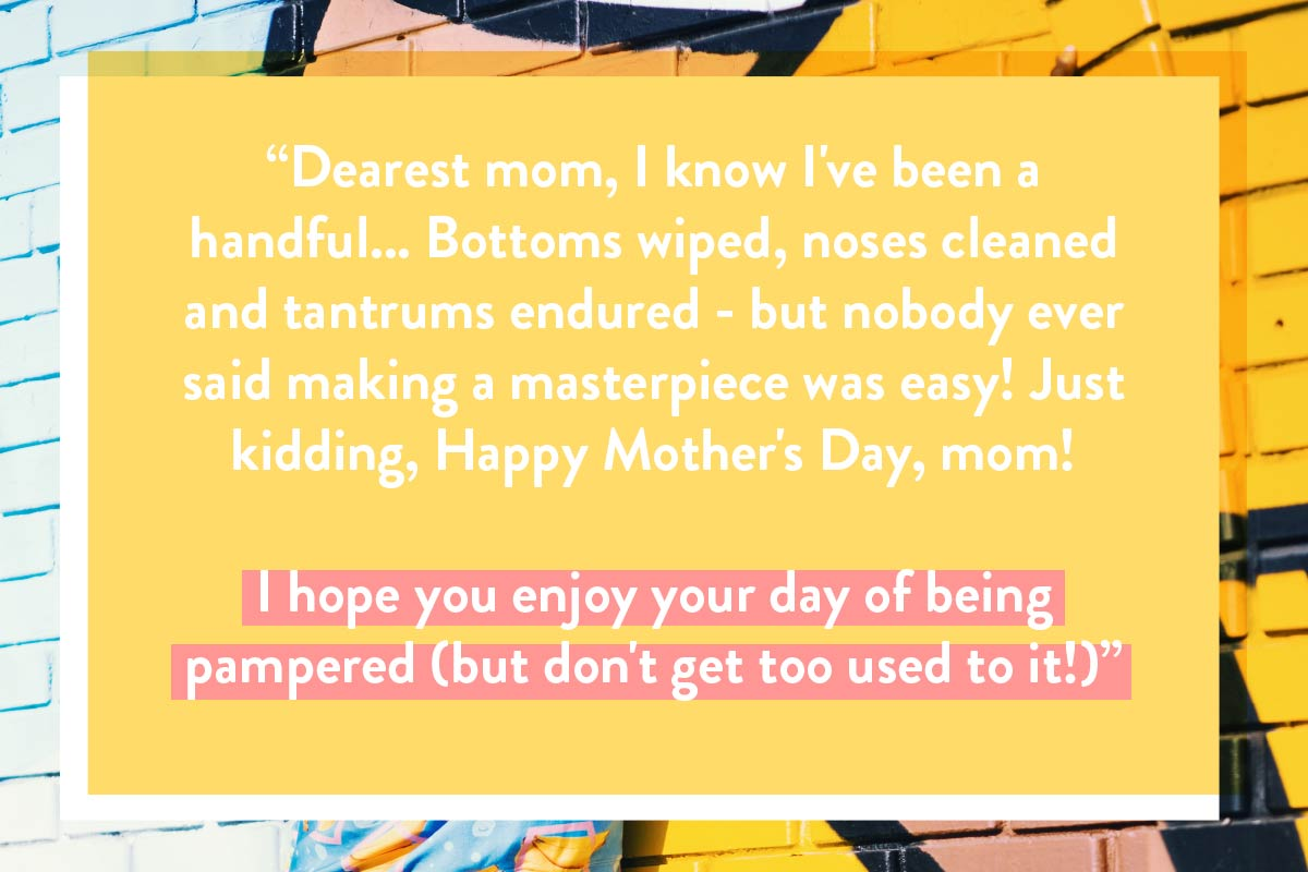 A jokey Happy Mother's Day card quote for a greeting postcard