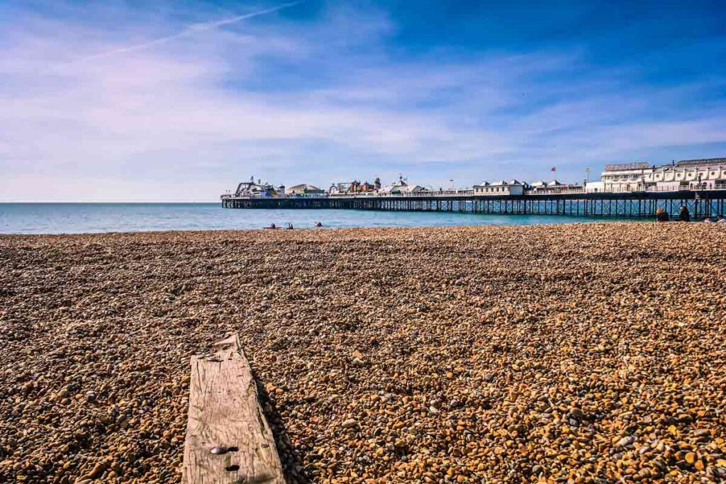 A beach of pebbles in Brighton provides a great getaway near London