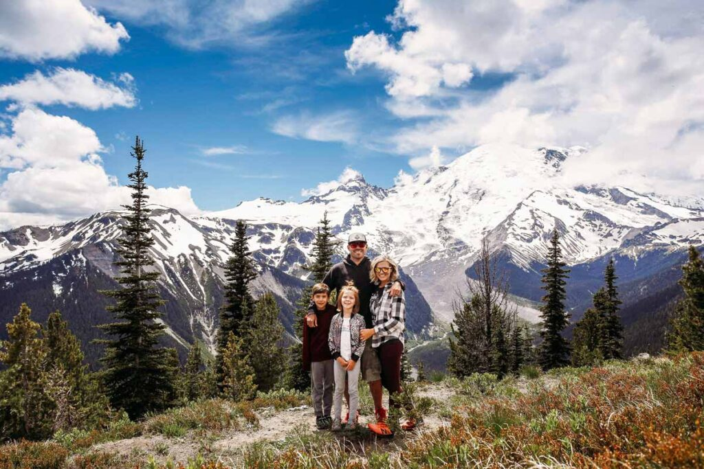 Family photo in front of the mountains