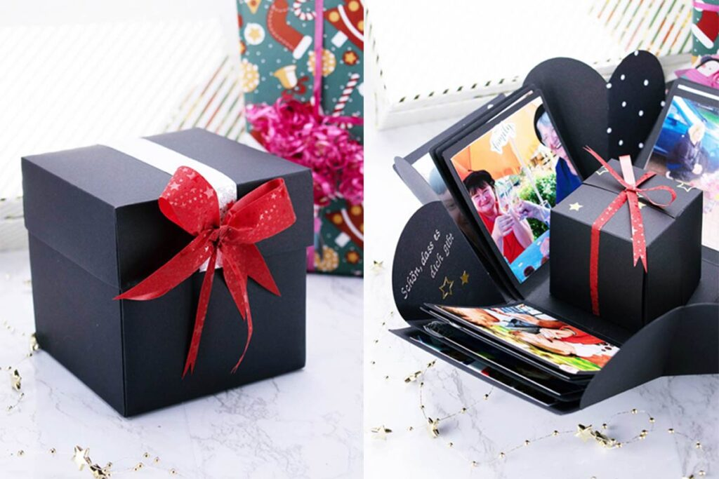 Easy Christmas crafts like this a DIY photo explosion box