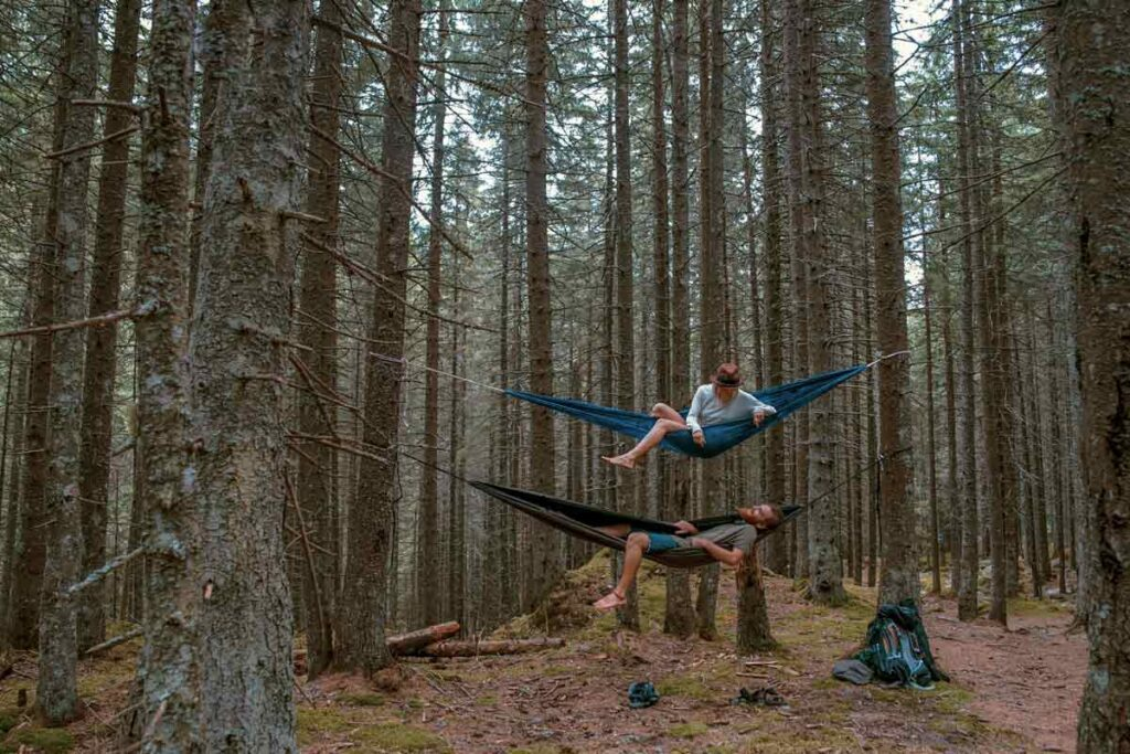 A couple hang in two hammocks in the woods