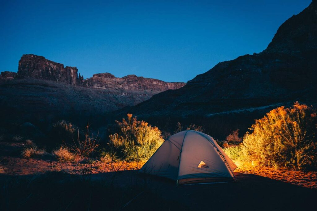 Nighttime tent photography
