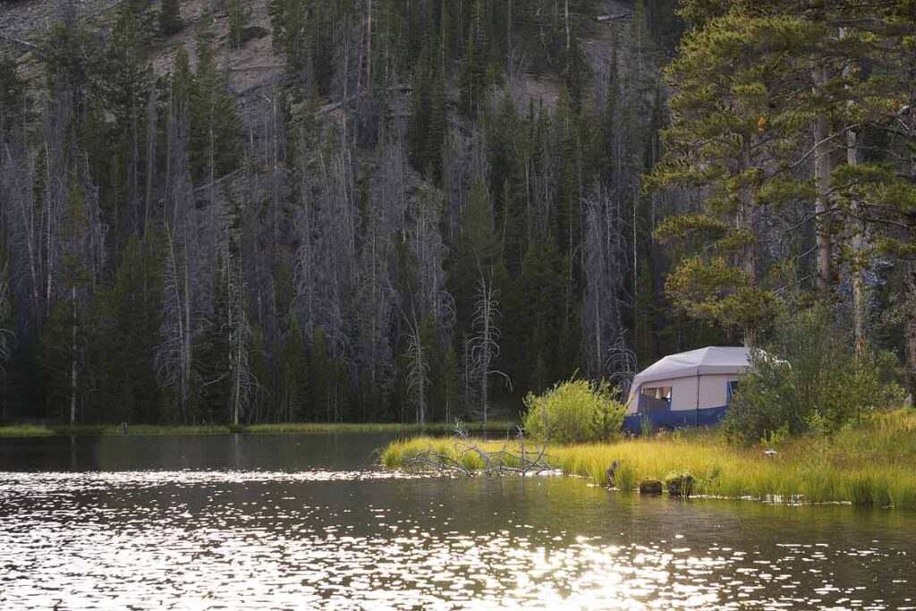 RV photography shows the rule of thirds law of a wood and caravan