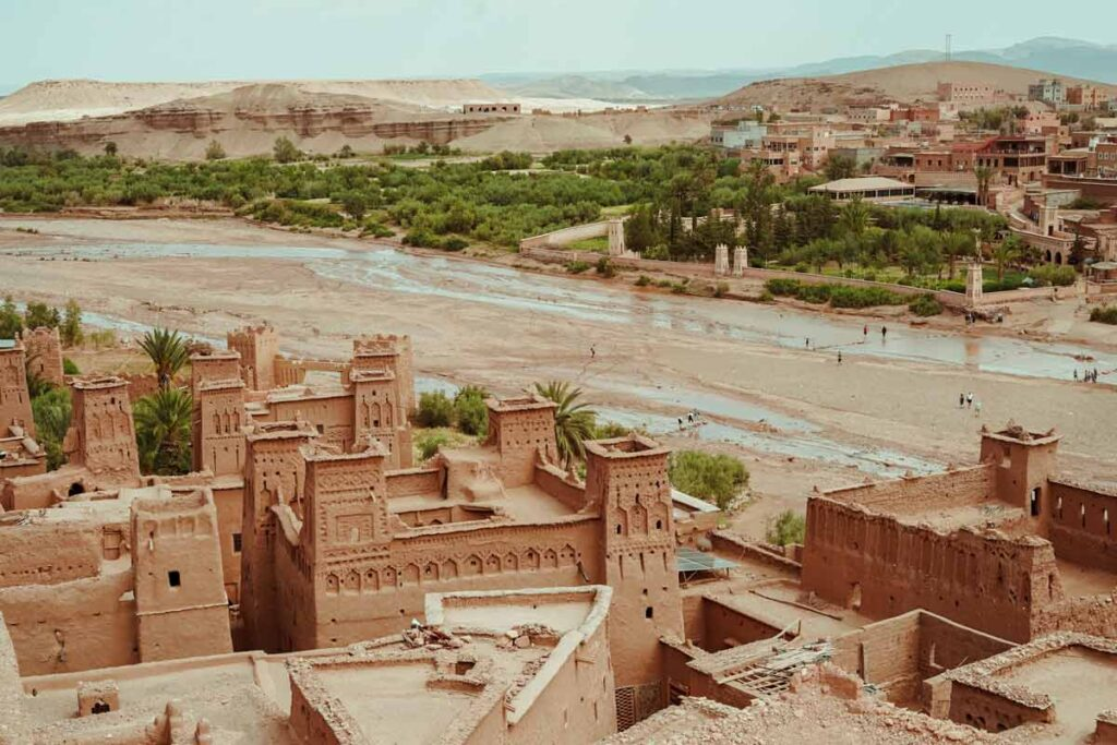 The sandy stone buildings of Aït-benhaddou is one of the locations for many famous films