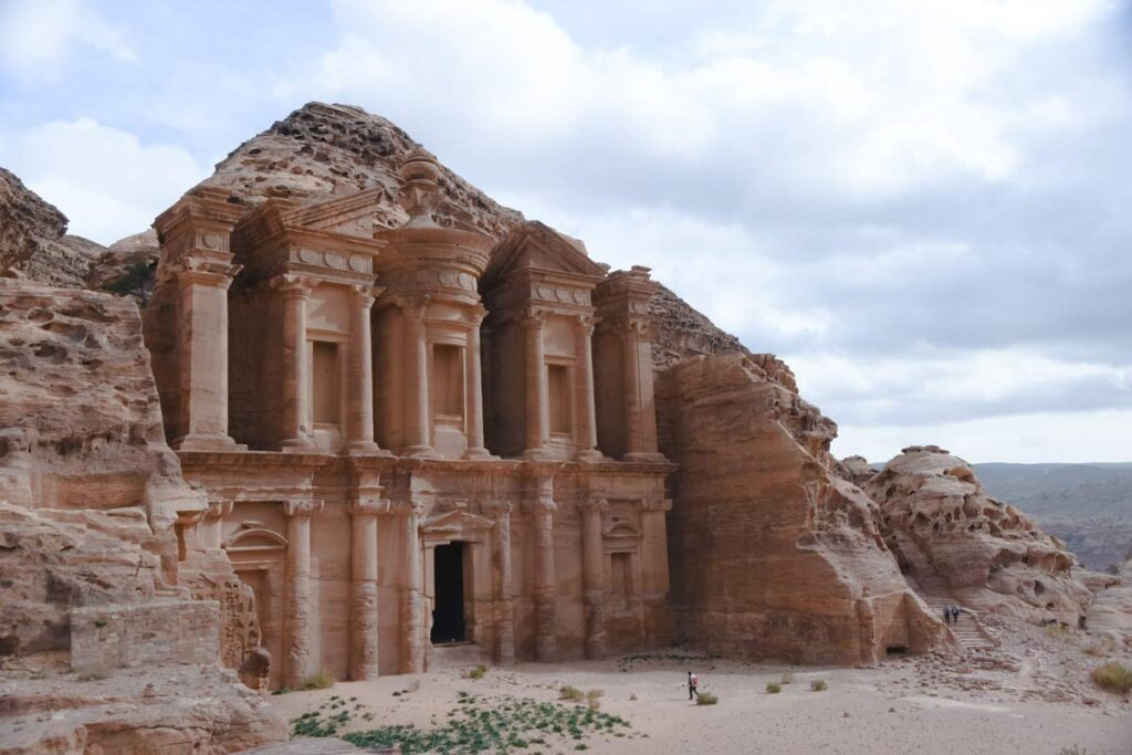 Known from the movie Indiana Jones, this ancient palace carved into the rock is in Petra