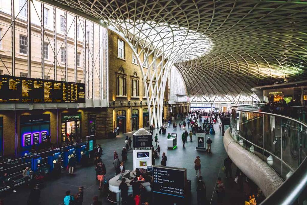 Kings Cross Station in London in the arrivals hall