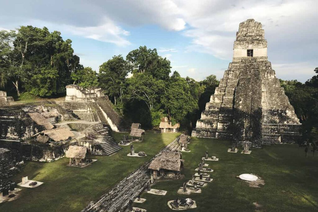 The famous film location site, Tikal full of ancient stones and carvings