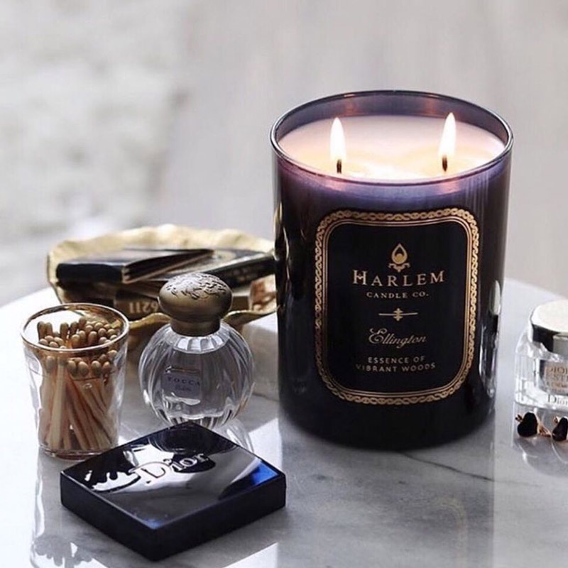 Beautiful candle product scene from black-owned brand, Harlem Candle Company