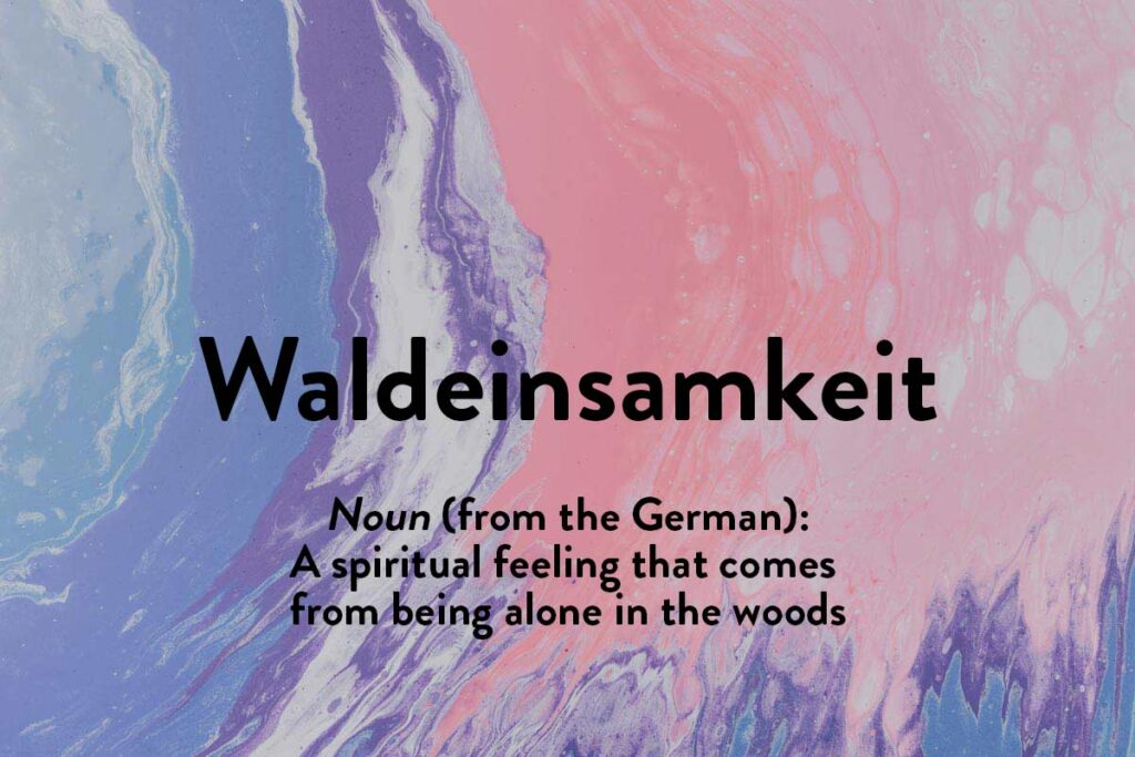 This foreign German word describes the feeling of etherial aloneness you get while alone in nature