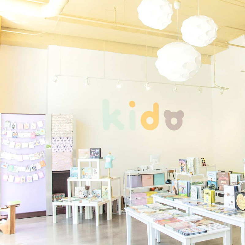 A shop display of kids' products by the black-owned family brand, Kidochicago
