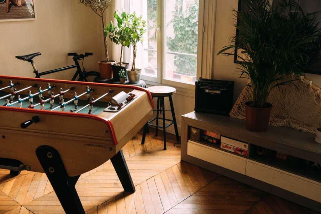 A football table in the living room